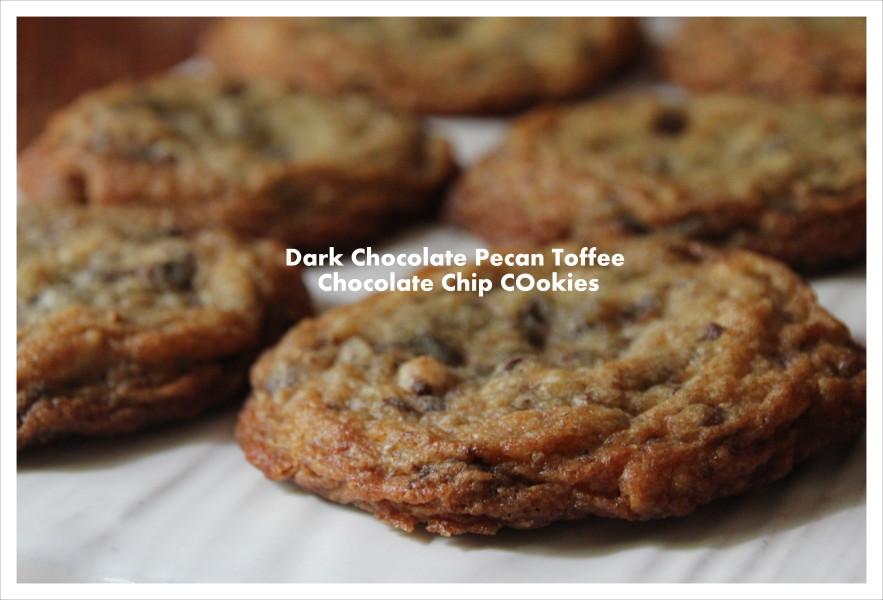 Dark Chocolate Pecan Toffee Chocolate Chip Cookies